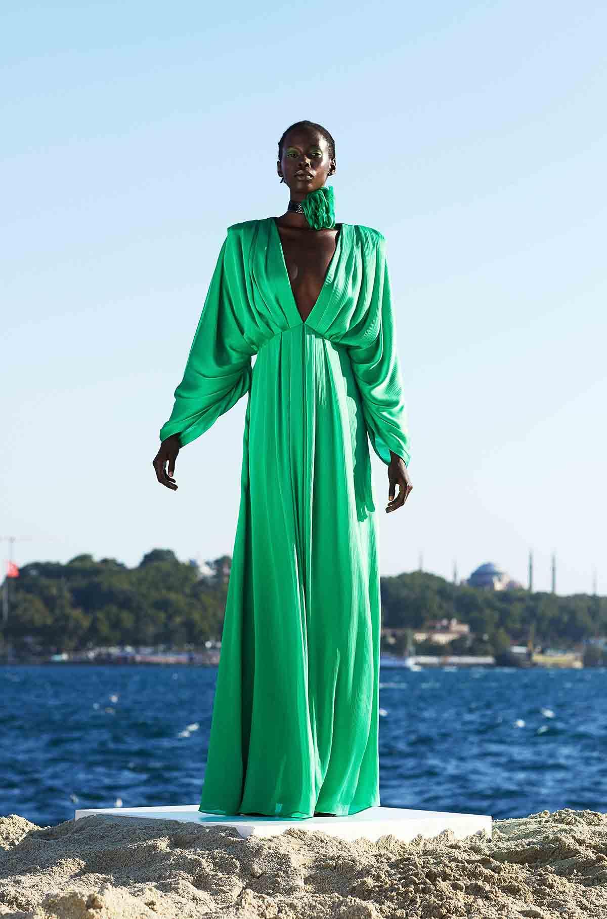 Flowy Maxi Dress With Drapery