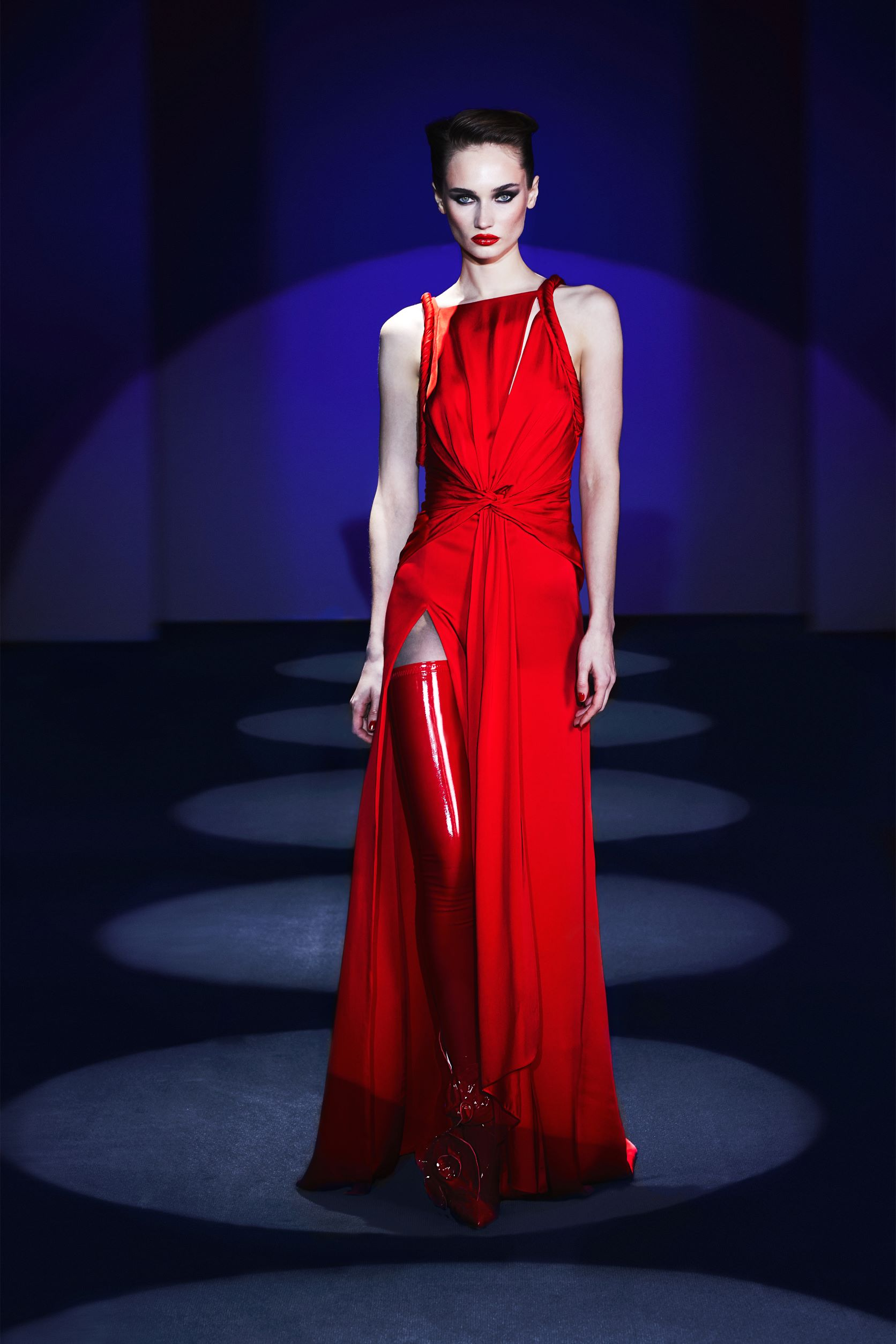 Draped dress with  cut out detail Slit and folded holders