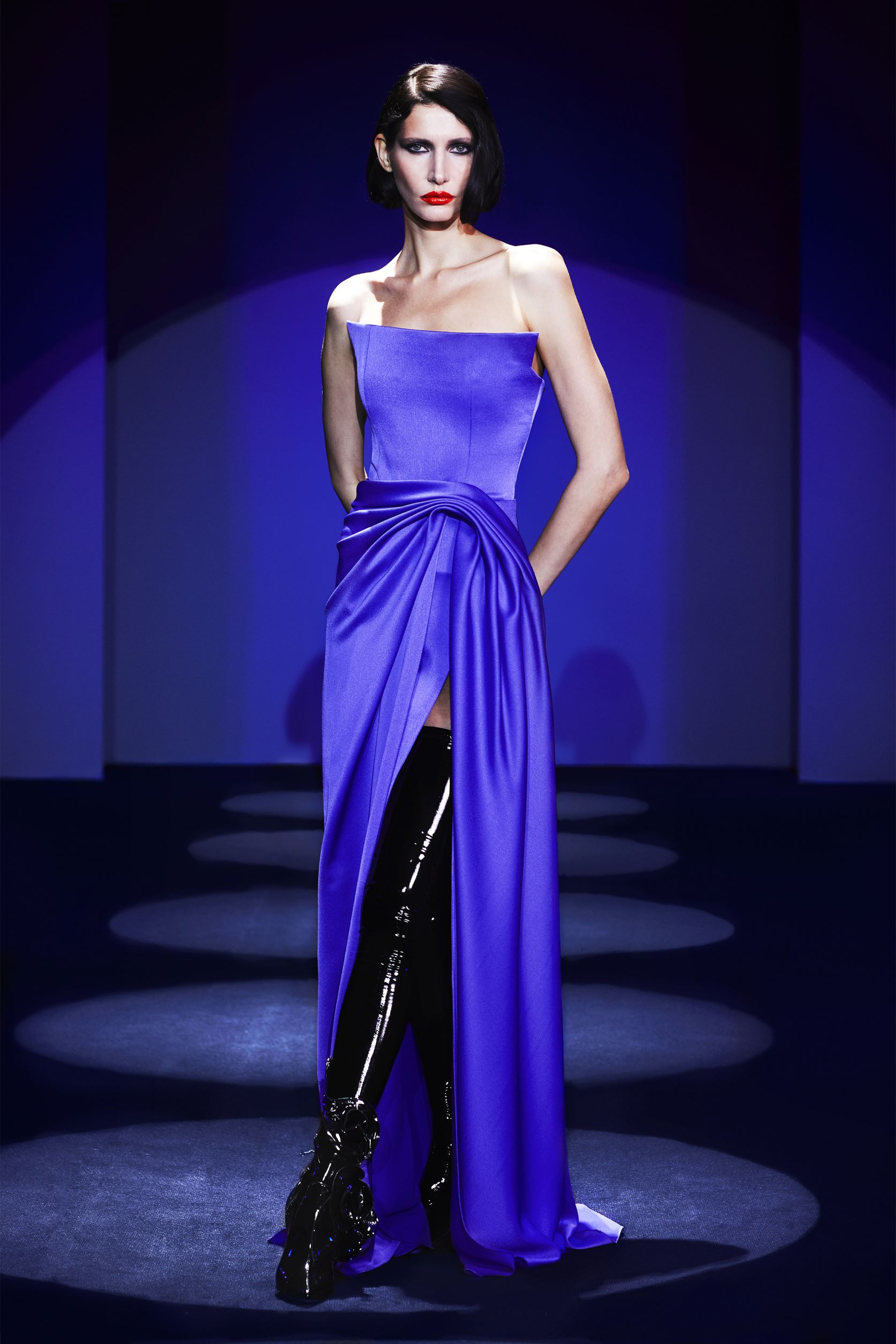 Strapless corse down with  drape detail and slit